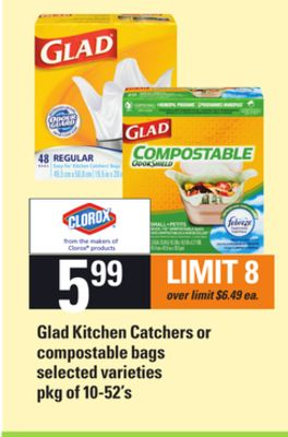 Glad Kitchen Catchers Or Compostable Bags - Pkg of 10-52's