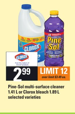 Pine-sol Multi-surface Cleaner - 1.41 L Or Clorox Bleach - 1.89 L
