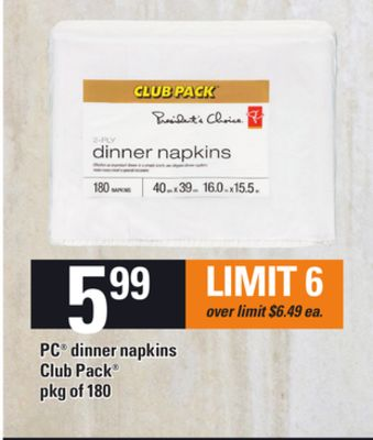 PC Dinner Napkins Club Pack - Pkg Of 180