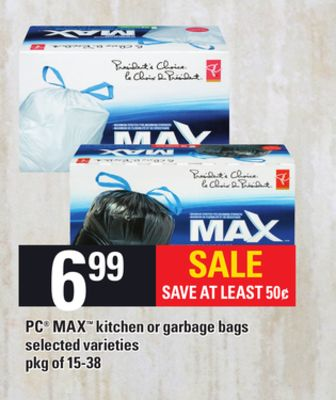 PC Max Kitchen Or Garbage Bags - Pkg of 15-38