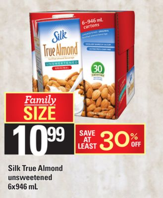 Silk True Almond Unsweetened - 6x946 Ml