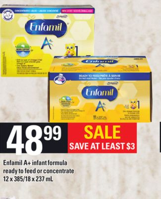 Enfamil A+ Infant Formula Ready To Feed Or Concentrate - 12 X 385/18 X 237 mL
