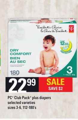 PC Club Pack Plus Diapers - Sizes 3-6 - 112-180's