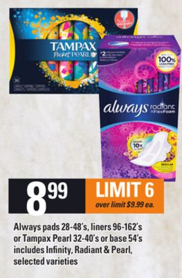 Always Pads - 28-48's - Liners - 96-162's Or Tampax Pearl - 32-40's Or Base - 54's