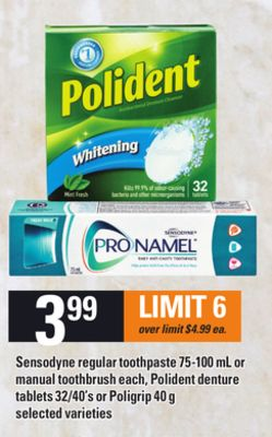 Sensodyne Regular Toothpaste 75-100 Ml Or Manual Toothbrush Each - Polident Denture Tablets 32/40's Or Poligrip 40 G