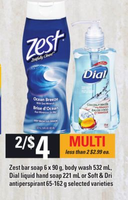 Zest Bar Soap - 6 X 90 g - Body Wash - 532 mL - Dial Liquid Hand Soap - 221 mL or Soft & Dri Antiperspirant - 65-162 g