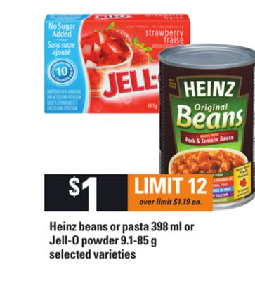 Heinz Beans Or Pasta 398 Ml Or Jell-o Powder 9.1-85 G