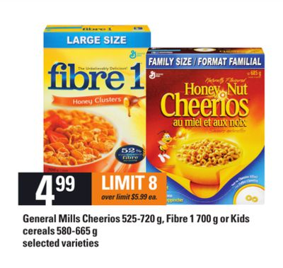 General Mills Cheerios - 525-720 g - Fibre 1 - 700 g or Kids Cereals - 580-665 g