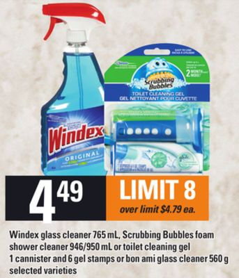 Windex Glass Cleaner - 765 mL - Scrubbing Bubbles Foam Shower Cleaner - 946/950 mL Or Toilet Cleaning Gel 1 Cannister And 6 Gel Stamps Or Bon Ami Glass Cleaner - 560 g