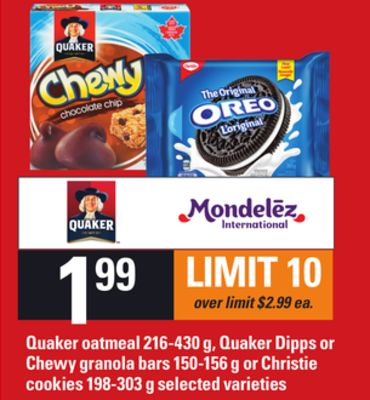 Quaker Oatmeal - 216-430 G - Quaker Dipps Or Chewy Granola Bars - 150-156 G Or Christie Cookies - 198-303 G