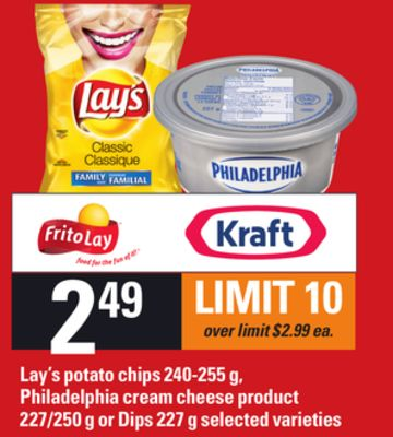 Lay's Potato Chips - 240-255 g - Philadelphia Cream Cheese Product - 227/250 g Or Dips - 227 g
