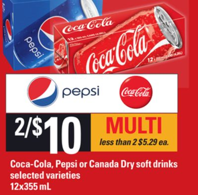 Coca-cola - Pepsi Or Canada Dry Soft Drinks - 12x355 mL