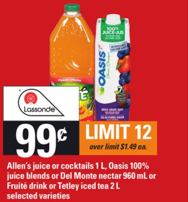Allen's Juice Or Cocktails - 1 L - Oasis 100% Juice Blends Or Del Monte Nectar - 960 mL Or Fruité Drink Or Tetley Iced Tea - 2 L
