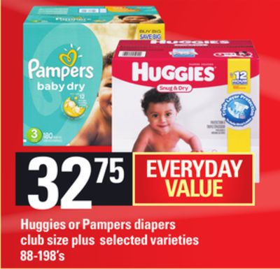 Huggies Or Pampers Diapers Club Size Plus - 88-198's