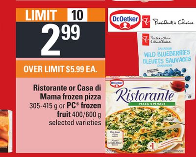 Ristorante Or Casa Di Mama Frozen Pizza - 305-415 g Or PC Frozen Fruit - 400/600 g