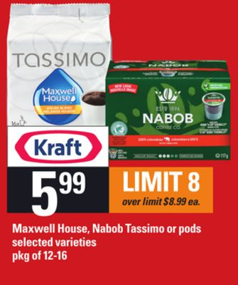 Maxwell House - Nabob Tassimo Or PODS - Pkg of 12-16