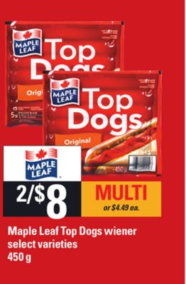 Maple Leaf Top Dogs Wiener - 450 g