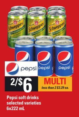 Pepsi Soft Drinks - 6x222 mL