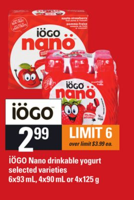 Iögo Nano Drinkable Yogurt - 6x93 mL - 4x90 mL or 4x125 g