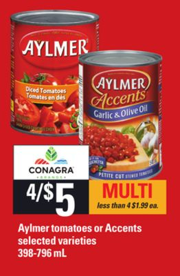 Aylmer Tomatoes Or Accents - 398-796 Ml