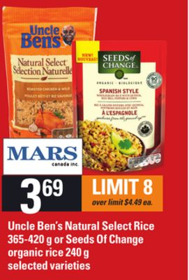 Uncle Ben's Natural Select Rice - 365-420 G Or Seeds Of Change Organic Rice - 240 G