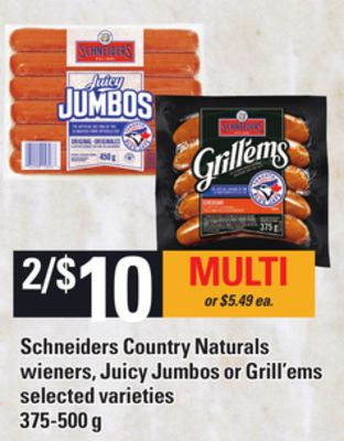 Schneiders Country Naturals Wieners - Juicy Jumbos Or Grill'ems - 375-500 g