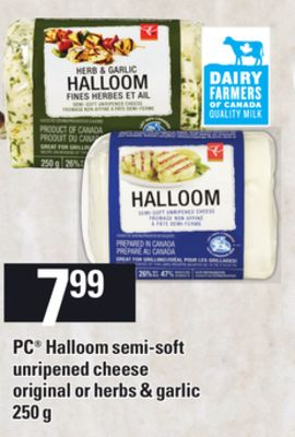 PC Halloom Semi-soft Unripened Cheese Original Or Herbs & Garlic - 250 g