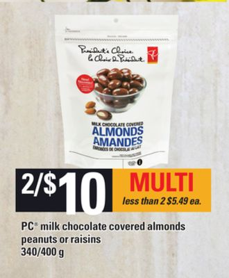 PC Milk Chocolate Covered Almonds Peanuts Or Raisins - 340/400 g