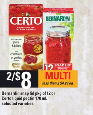 Bernardin Snap Lid - Pkg of 12 or Certo Liquid Pectin - 170 mL