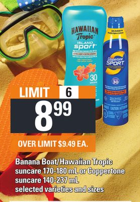 Banana Boat/hawaiian Tropic Suncare 170-180 mL Or Coppertone Suncare 140-237 mL