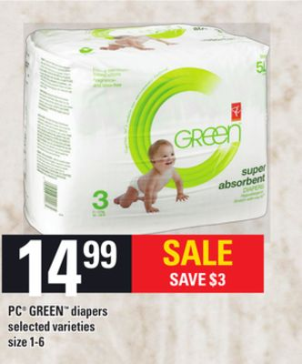 PC Green Diapers - Size 1-6a