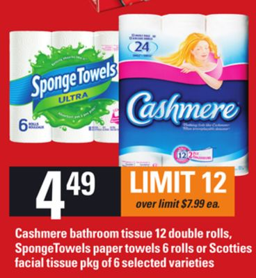 Cashmere Bathroom Tissue 12 Double Rolls - Spongetowels Paper Towels 6 Rolls or Scotties Facial Tissue Pkg of 6