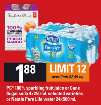 PC 100% Sparkling Fruit Juice Or Cane Sugar Soda - 4x250 mL Selected Varieties Or Nestlé Pure Life Water - 24x500 mL