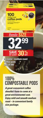 No Name Medium Roast Coffee PODS - Pkg of 100