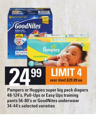 Pampers Or Huggies Super Big Pack Diapers - 48-124's - Pull-ups or Easy Ups Training Pants - 56-80's or Goodnites Underwear - 34-44's