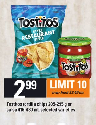 Tostitos Tortilla Chips - 205-295 g or Salsa - 416-430 mL