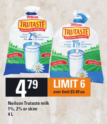 Neilson Trutaste Milk - 1% - 2% Or Skim - 4 L