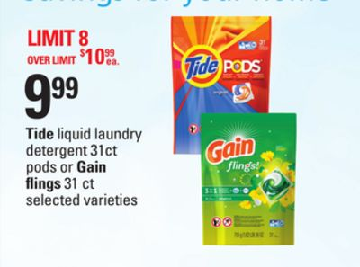 Tide Liquid Laundry Detergent - 31ct PODS or Gain Flings - 31 Ct