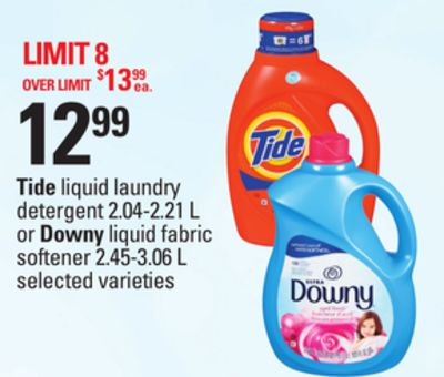 Tide Liquid Laundry Detergent - 2.04-2.21 L Or Downy Liquid Fabric Softener - 2.45-3.06 L
