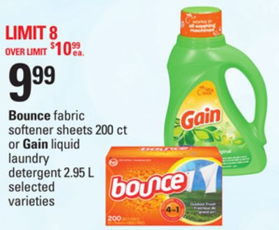 Bounce Fabric Softener Sheets - 200 Ct or Gain Liquid Laundry Detergent - 2.95 L