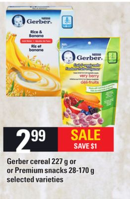 Gerber Cereal - 227 g Or Or Premium Snacks - 28-170 g