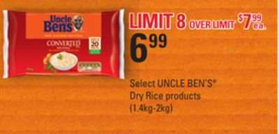 Select Uncle Ben's Dry Rice Products - 1.4kg-2 Kg