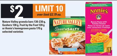 Nature Valley Granola Bars - 130-230 G - Gushers 138 G - Fruit By The Foot - 128 G Or Annie's Homegrown Pasta - 170 G