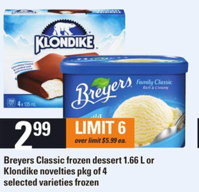 Breyers Classic Frozen Dessert - 1.66 L or Klondike Novelties - Pkg of 4