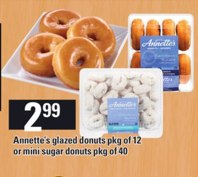 Annette's Glazed Donuts - Pkg Of 12 Or Mini Sugar Donuts - Pkg Of 40