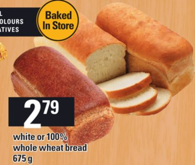 White or 100% Whole Wheat Bread - 675 g