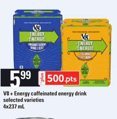 V8 + Energy Caffeinated Energy Drink - 4x237 mL