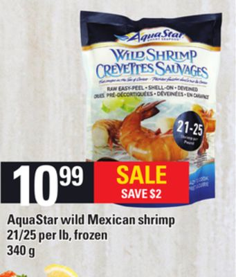 Aquastar Wild Mexican Shrimp - 340 g - 21/25 Per Lb