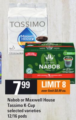 Nabob Or Maxwell House Tassimo K-cup - 12/16 Pods