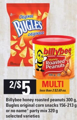 Billybee Honey Roasted Peanuts - 300 g - Bugles Original Corn Snacks - 156-213 g or No Name Party Mix - 320 g